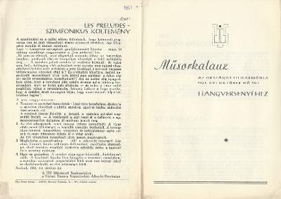 Műsorkalauz az Országos Filharmónia 1961. évi október hó 30-i hangversenyéhez