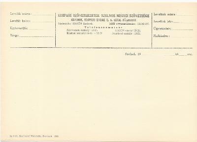 Kisipari Szövetkezetek Szolnok Megyei Szövetségének nyomtatványa