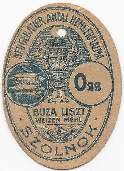 Neugebauer Antal Hengermalmának zsákcímkéje