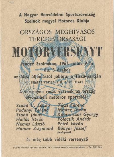 A Magyar Honvédelmi Sportszövetség Országos Meghívásos Terepgyorsasági motorversenyt rendez