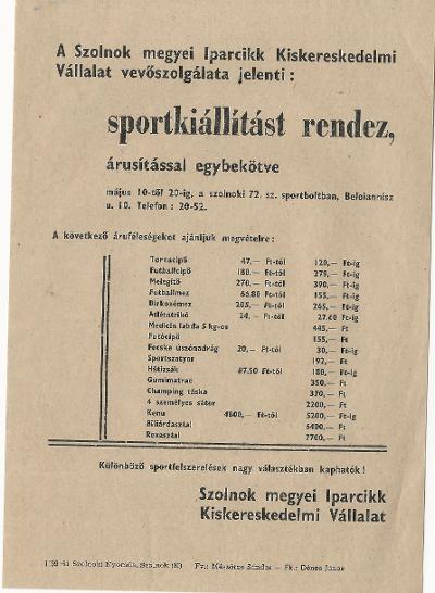 A Szolnok megyei Iparcikk Kiskereskedelmi Vállalat Sportkiállítást rendez