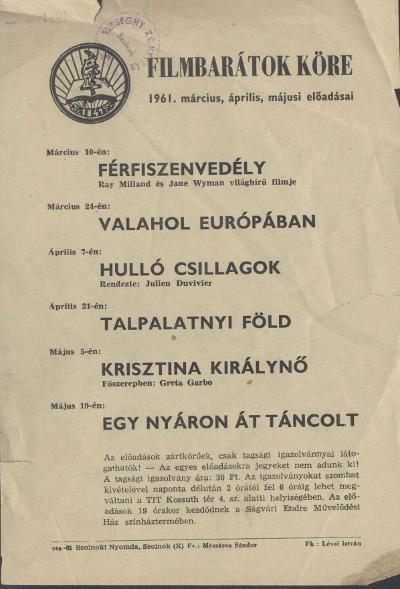 Filmbarátok Köre 1961. március, április, májusi előadásai