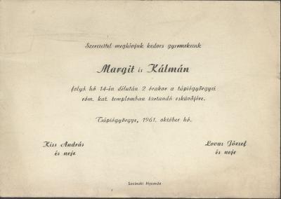 Margit és Kálmán esküvői meghívója
