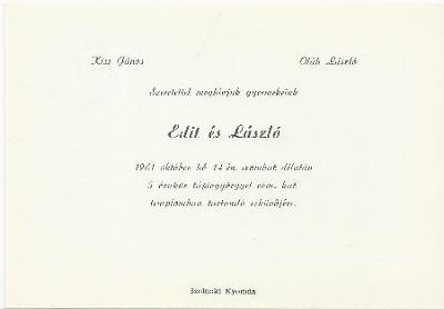Kiss Edit és Oláh László esküvői meghívója
