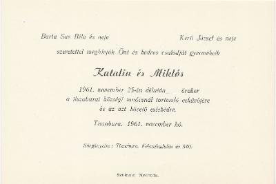Katalin és Miklós esküvői meghívója