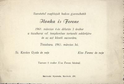 Sz. Kovács Ilonka és Kiss Ferenc esküvői meghívója