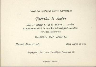 Haraszti Piroska és Rácz Lajos esküvői meghívója