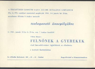 Meghívó a tiszafüredi Kossuth Lajos Állami Általános Gimnázium szalagavató ünnepélyére