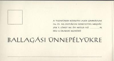 A tiszafüredi Kossuth Lajos Gimnázium ballagási meghívója