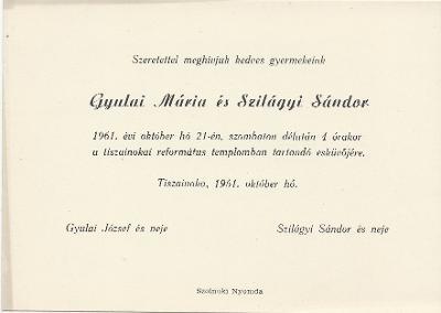 Gyulai Mária és Szilágyi Sándor esküvői meghívója