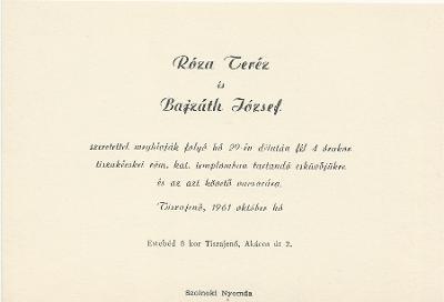 Róza Teréz és Bajzáth József esküvői meghívója
