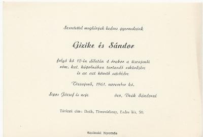 Sipos Gizike és Deák Sándor esküvői meghívója