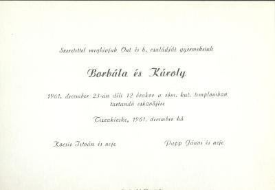 Borbála és Károly esküvői meghívója