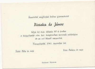 Piroska és János esküvői meghívója