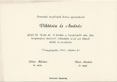 Péter Viktória és Bóné András esküvői meghívója