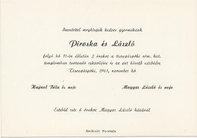 Hajnal Piroska és Magyar László esküvői meghívója