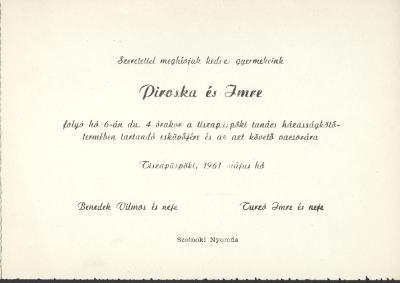 Benedek Piroska és Turzó Imre esküvői meghívója