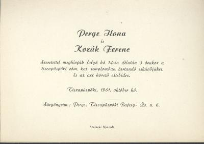 Perge Ilona és Kozák Ferenc esküvői meghívója