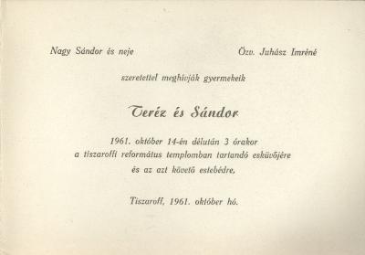 Teréz és Sándor esküvői meghívója