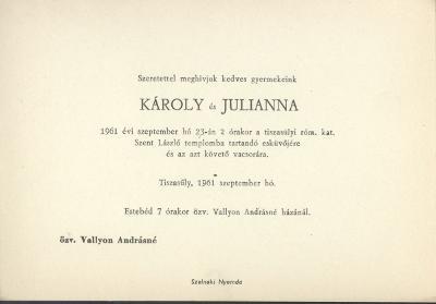 Károly és Julianna esküvői meghívója
