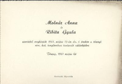 Molnár Anna és Ribita Gyula esküvői meghívója