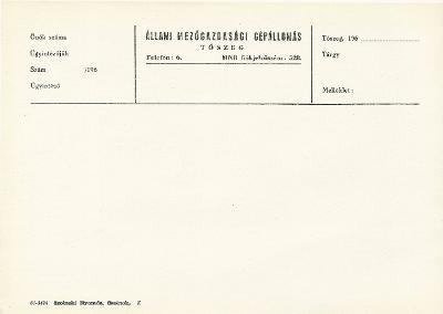 Tószegi Állami Mezőgazdasági Gépállomás nyomtatványa