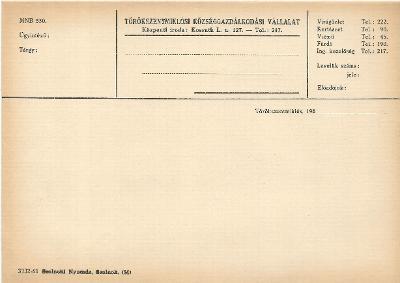 Törökszentmiklósi Községgazdálkodási Vállalat nyomtatványa