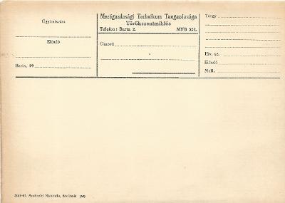 Törökszentmiklósi Mezőgazdasági Technikum Tangazdaságának nyomtatványa