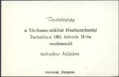 Tiszteletjegy Technikus bálra
