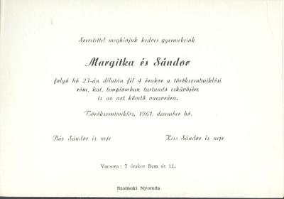 Bús Margitka és Kiss Sándor esküvői meghívója