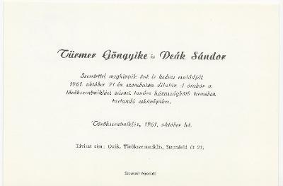 Türmer Gyöngyike és Deák Sándor esküvői meghívója