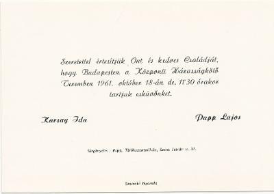 Karsay Ida é Papp Lajos esküvői meghívója