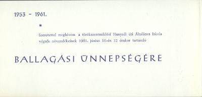 A törökszentmiklósi Hunyadi úti Általános Iskola ballagási meghívója