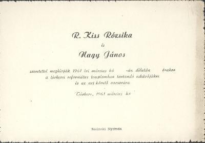 R. Kiss Rózsika és Nagy János esküvői meghívója