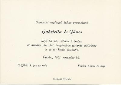 Gabriella és János esküvői meghívója