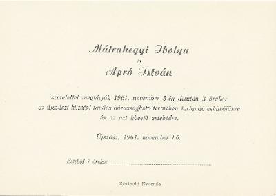 Mátrahegyi Ibolya és Apró István esküvői meghívója