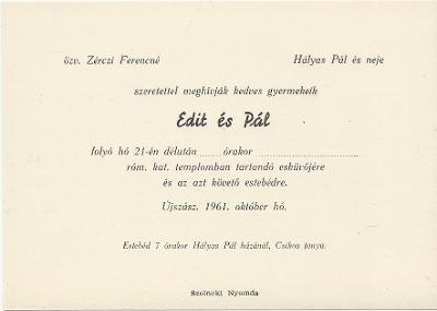 Zérczi Edit és Hályas Pál esküvői meghívója
