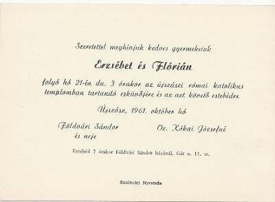 Erzsébet és Flórián esküvői meghívója