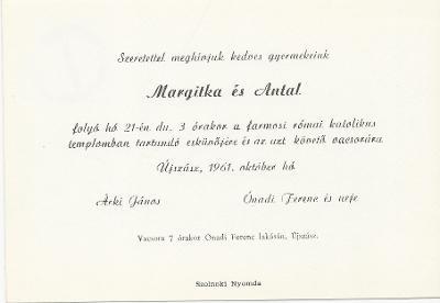 Margitka és Antal esküvői meghívója