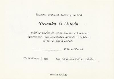 Viola Veronka és Bene István esküvői meghívója