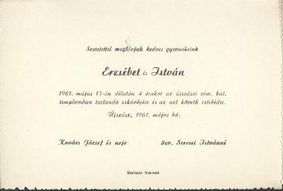 Kovács Erzsébet és Szecsei István esküvői meghívója