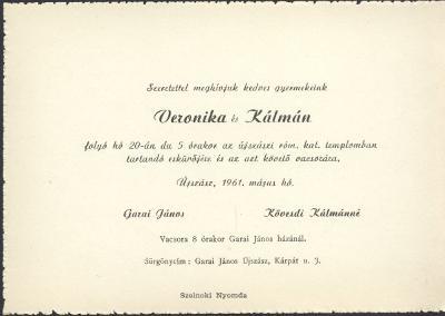 Garai Veronika és Kövesdi Kálmán esküvői meghívója