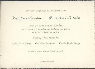 Katalin és Sándor, valamint Zsuzsika és István esküvői meghívója