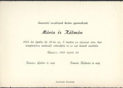 Kovács Mária és Kovács Kálmán esküvői meghívója