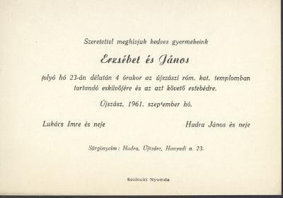 Lukács Erzsébet és Hudra János esküvői meghívója