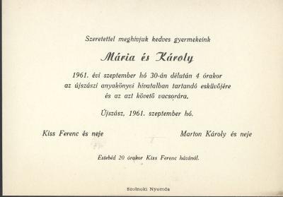 Kiss Mária és Márton Károly esküvői meghívója