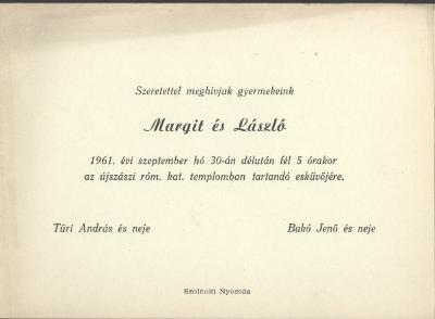 Margit és László esküvői meghívója