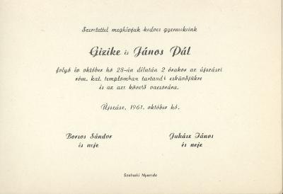 Borsos Gizike és Juhász János Pál esküvői meghívója