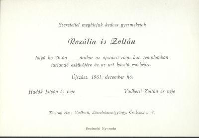 Hudák Rozália és Vadkerti Zoltán esküvői meghívója