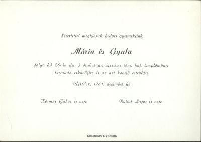 Mária és Gyula esküvői meghívója